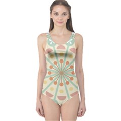 Blue Circle Ornaments One Piece Swimsuit
