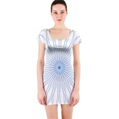 Spirograph Pattern Circle Design Short Sleeve Bodycon Dress