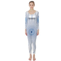 Spirograph Pattern Circle Design Long Sleeve Catsuit
