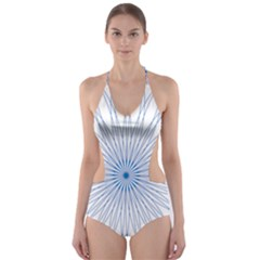 Spirograph Pattern Circle Design Cut Out One Piece Swimsuit