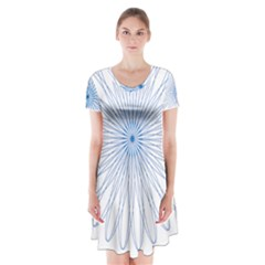 Spirograph Pattern Circle Design Short Sleeve V Neck Flare Dress