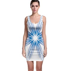 Blue Spirograph Pattern Circle Geometric Sleeveless Bodycon Dress