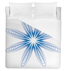 Blue Spirograph Pattern Circle Geometric Duvet Cover (queen Size) by Nexatart