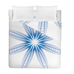 Blue Spirograph Pattern Circle Geometric Duvet Cover Double Side (full/ Double Size)