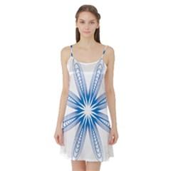 Blue Spirograph Pattern Circle Geometric Satin Night Slip