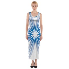 Blue Spirograph Pattern Circle Geometric Fitted Maxi Dress