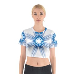 Blue Spirograph Pattern Circle Geometric Cotton Crop Top