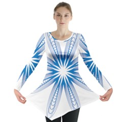 Blue Spirograph Pattern Circle Geometric Long Sleeve Tunic