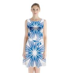 Blue Spirograph Pattern Circle Geometric Sleeveless Waist Tie Chiffon Dress