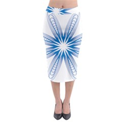 Blue Spirograph Pattern Circle Geometric Midi Pencil Skirt by Nexatart