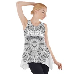 Art Coloring Flower Page Book Side Drop Tank Tunic