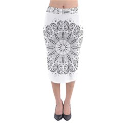 Art Coloring Flower Page Book Midi Pencil Skirt