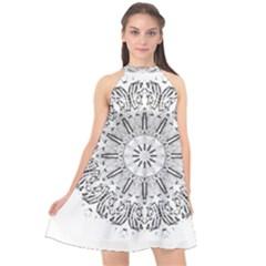 Art Coloring Flower Page Book Halter Neckline Chiffon Dress