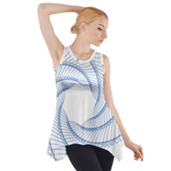 Spirograph Spiral Pattern Geometric Side Drop Tank Tunic