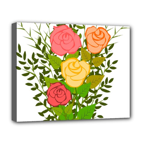 Roses Flowers Floral Flowery Deluxe Canvas 20  X 16   by Nexatart