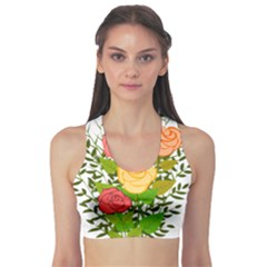 Roses Flowers Floral Flowery Sports Bra