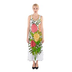 Roses Flowers Floral Flowery Sleeveless Maxi Dress