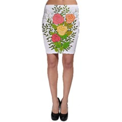 Roses Flowers Floral Flowery Bodycon Skirt