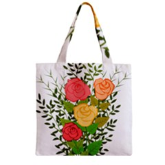 Roses Flowers Floral Flowery Zipper Grocery Tote Bag by Nexatart
