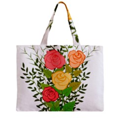 Roses Flowers Floral Flowery Zipper Mini Tote Bag