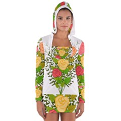 Roses Flowers Floral Flowery Women s Long Sleeve Hooded T Shirt