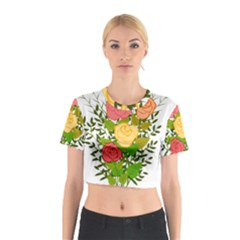 Roses Flowers Floral Flowery Cotton Crop Top by Nexatart