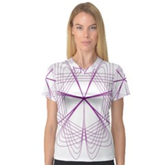 Purple Spirograph Pattern Circle Geometric Women s V Neck Sport Mesh Tee