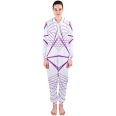 Purple Spirograph Pattern Circle Geometric Hooded Jumpsuit (ladies)
