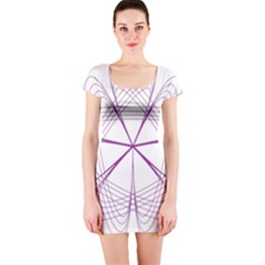 Purple Spirograph Pattern Circle Geometric Short Sleeve Bodycon Dress