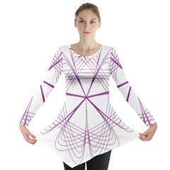 Purple Spirograph Pattern Circle Geometric Long Sleeve Tunic