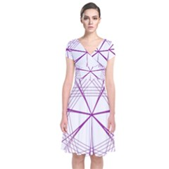 Purple Spirograph Pattern Circle Geometric Short Sleeve Front Wrap Dress