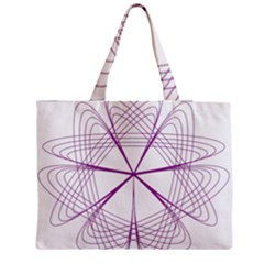 Purple Spirograph Pattern Circle Geometric Medium Zipper Tote Bag