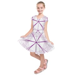 Purple Spirograph Pattern Circle Geometric Kids  Short Sleeve Dress