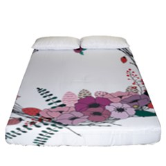 Flowers Twig Corolla Wreath Lease Fitted Sheet (california King Size)