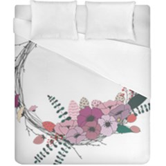 Flowers Twig Corolla Wreath Lease Duvet Cover (california King Size)