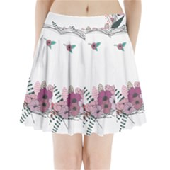 Flowers Twig Corolla Wreath Lease Pleated Mini Skirt