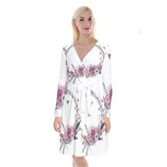 Flowers Twig Corolla Wreath Lease Long Sleeve Velvet Front Wrap Dress