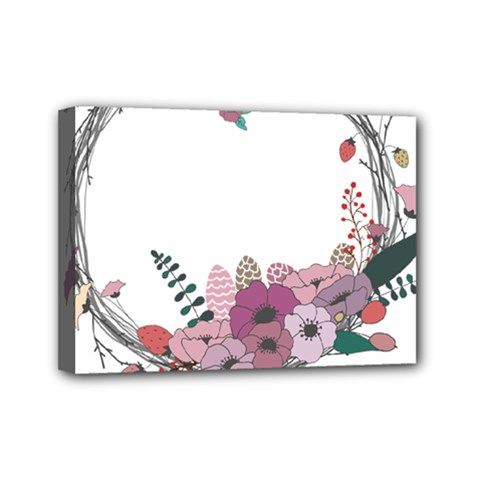 Flowers Twig Corolla Wreath Lease Mini Canvas 7  X 5  by Nexatart