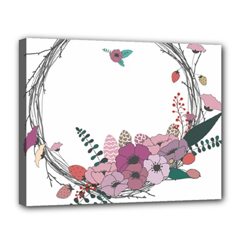 Flowers Twig Corolla Wreath Lease Canvas 14  X 11  by Nexatart