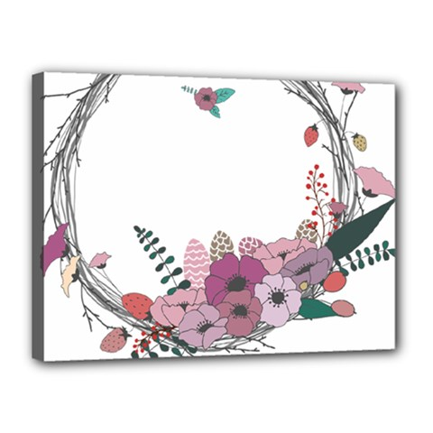 Flowers Twig Corolla Wreath Lease Canvas 16  X 12  by Nexatart