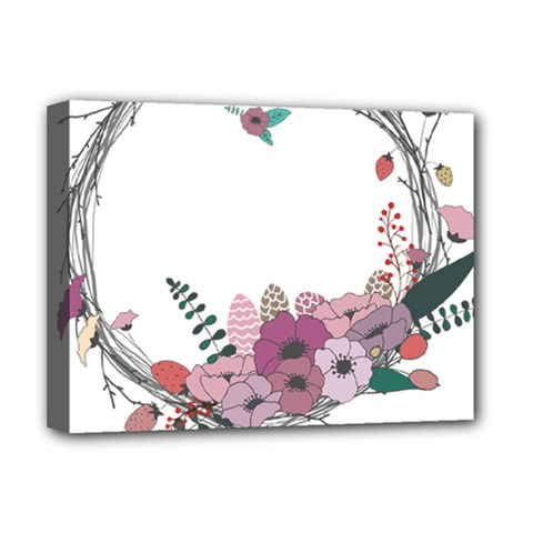 Flowers Twig Corolla Wreath Lease Deluxe Canvas 16  X 12   by Nexatart