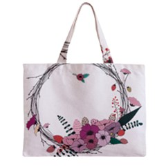 Flowers Twig Corolla Wreath Lease Zipper Mini Tote Bag