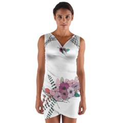 Flowers Twig Corolla Wreath Lease Wrap Front Bodycon Dress