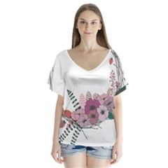 Flowers Twig Corolla Wreath Lease Flutter Sleeve Top