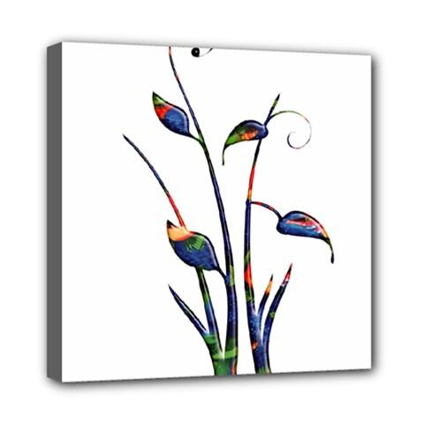 Flora Abstract Scrolls Batik Design Mini Canvas 8  X 8  by Nexatart