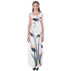 Flora Abstract Scrolls Batik Design Empire Waist Maxi Dress