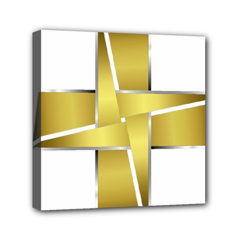 Logo Cross Golden Metal Glossy Mini Canvas 6  X 6  by Nexatart