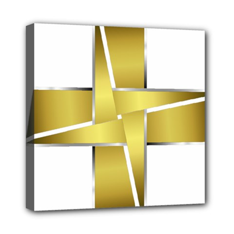 Logo Cross Golden Metal Glossy Mini Canvas 8  X 8  by Nexatart