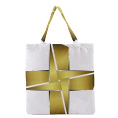 Logo Cross Golden Metal Glossy Grocery Tote Bag by Nexatart