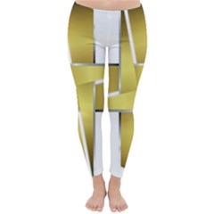 Logo Cross Golden Metal Glossy Classic Winter Leggings by Nexatart